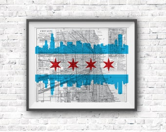 Beautiful Chicago Map Print / Chicago Wall Art