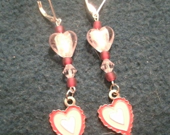 Valentine Red and Pink Enamel Heart Dangle Earrings, Hand Crafted