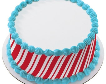 Candy Cane Stripes Edible Cake Side Image Strips