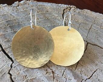 Brass Disc Earrings, Mixed Metal Earrings, 1 inch Brass Disc Earrings, Hand Hammered Disc Earrings, Disc Earrings, Everyday Earrings
