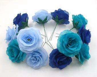 14 Pcs Silk flower Heads,Blue Silk Rose Heads,Artificial Flower Roses With Short Stem,Wedding Flowers,Bridal Bouquets,Turquoise Aqua Blue