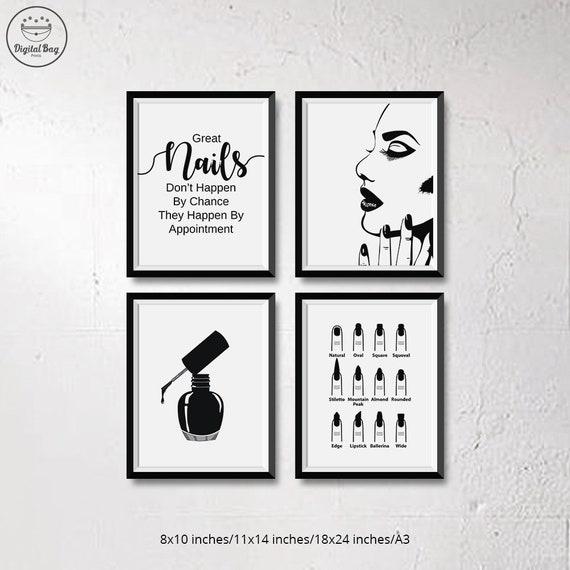 Set of 4 nail salon decor nail wall art salon decor nail art nail prints salon wall decor salon wall art nail printable nails salon