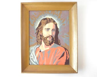 Vintage Jesus Paint By Number Painting Pastel Colors Painting Framed Vintage Painting Easter Decor Wall Decor Vintage Artwork Religious Art