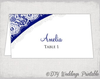 "Wedding name card template ""Lace"" DIY printable placecards navy -YOU EDIT Word template place card instant download"