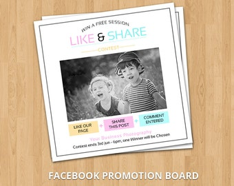 Facebook Promotion Marketing Board | Facebook Like, Share, comments | Photoshop & Elements Template | Instant Download