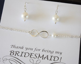 6 Infinity Silver Bridesmaid Bracelet and Earring Set, Infinity Gold Jewelry, Bridesmaid Gift, White Pearl, Thank You Card, Pearl Earrings