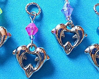 Hearing Aid Charms:  Silver Plated Dolphin Hearts with Glass Accent Beads! Also available as a matching mother daughter set!