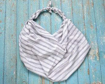 "Striped Furoshiki, black and white, cotton, linen, pareo, handkerchief, beach bag, 148 x 141 cm, 58 ""x 55"", natural fibers, handmade"