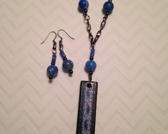 Denim blues on wood tiles with gemstone agate beads dangle earrings and chain necklace