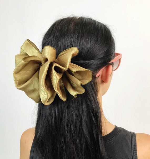 90's Giant Bow Clip - Gold Champagne Floral Bow French Clip Hair Barrette - Earth Tone Statement Hair Bow Eighties/Nineties Big Accessory