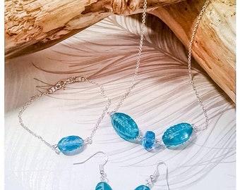 Vintage Jewellery Set, Necklace, Teal Bracelet, Teal Earrings, Teal Glass, Teal Beads, Teal Jewellery, Vintage Glass Beads, Retro Jewellery