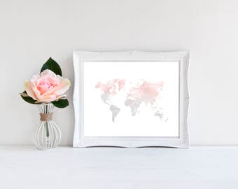 Grey world map etsy blush grey watercolor world map print blush and grey map watercolor map print gumiabroncs Image collections