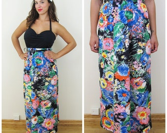 70s Prestige of Boston, Black Floral A-line Maxi Skirt, Size Small to Medium