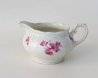 Pretty Vintage Porcelain Creamer with Pink Flower Decorations and Gold Rim Made in the 1940s by MOSA, Maastricht in Holland