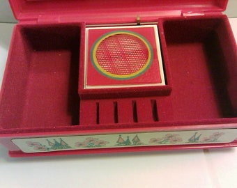 Vintage Red Plastic Music Jewelry Box Unique Spinning Wheel Inside Works 1970s