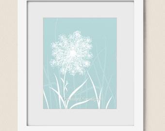 Sky Blue Decor for Home or Office, Dandelion Wall Art 8 x 10 Nature Print, Light Blue Flower Bloom Art (203)