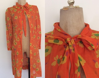 1970's Orange Cotton Floral Duster w/ Ascot Bow Size XS Small Medium by Maeberry Vintage