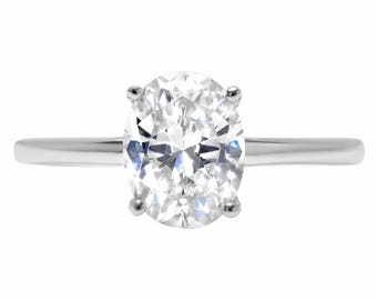 14k Forever Band, Forever 14k Band, Forever Band 14k, 2.5 Ct Lab Diamond Oval Cut Solitaire Bridal Ring In Solid 14k White Gold, Rings