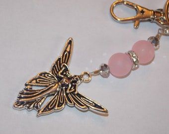 Frosted Pink and Silver Plated Clear Rhinestone Bead Fairy Angel Keychain Purse Charm
