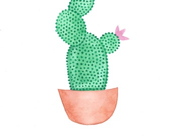 Watercolour Green Cactus Print (A4, A5 and Greetings Card)