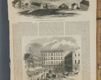"""View of the City of Providence, R. I., From Smith's Hill 1853. Marquet Square and """"What Cheer"""" Building, Providence.Large Antique Engraving."""