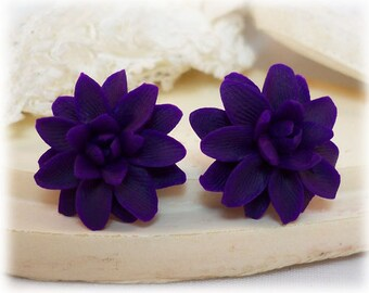Purple Dahlia Earrings Stud or Clip On - Dahlia Jewelry