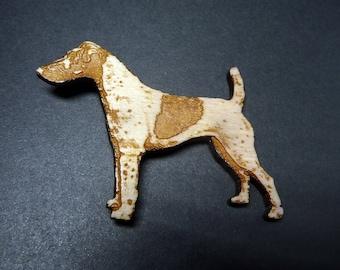 Wooden Jack Russell Terrier Brooch