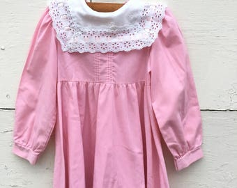 Vintage pink dress for little girls , pink and white lace dress, pink pinafore dress