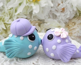 Puffer Fish Wedding Cake Topper, Bride and Groom, Lilac and Aqua, Beach, Tropical, Keepsake
