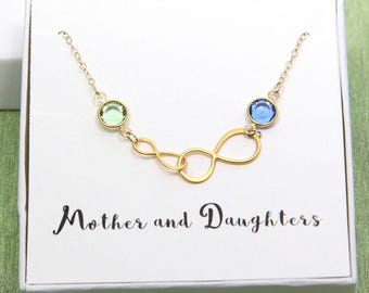 Mother Necklace, Mother Daughter Necklace, Gold Infinity Necklace, Double Infinity Necklace, Mom Daughter Jewelry, To Mom From Daughter