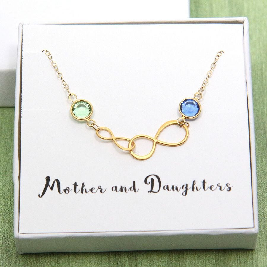 daughter infinity between initial mom mother birthstone necklace pin and love
