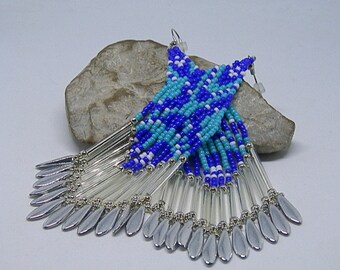 Navy, turquoise, white and silver beadwoven earrings