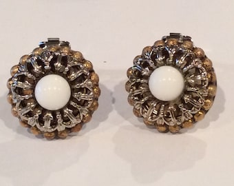 Vintage Silvertone and Goldtone with White Cabochon in center Clipback earrings, Antique earrings, Flower