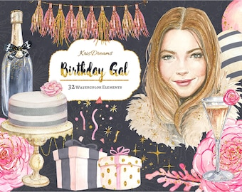 Birthday Clip Art Watercolor Clip Art Birthday Party Woman Fashion Illustration Coral Pink Gold Black Champagne Cake Glam DIY