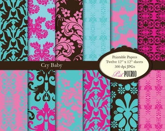 Digital Papers, Printable Papers, Scrapbook Papers in Damask