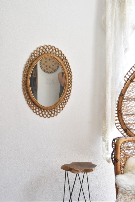 faux bamboo wood wall hanging ornate oval mirror / textured frame