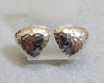 1980's Hammered Silvertone Metal Button Clip On Earrings, Bold