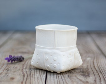 White Ceramic planter, Small White Vase, Dotted Planter, Modern Ceramic Vase, Ceramic Flower Pot, Wedding Centerpiece Vase, Indoor gardening