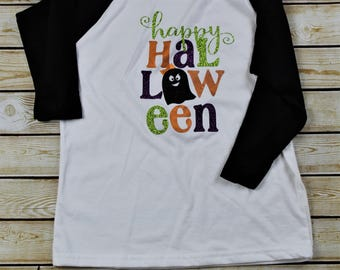Girls Sparkly Halloween  Child's Kid Baseball Tee Shirt