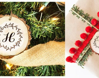 Monogramed Tree Slice Ornament or Gift Tag