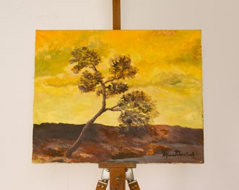 Sunset with tree, original plen air oil impressionist painting - Italian landscape Alfonso Palma 16 x 20 inches