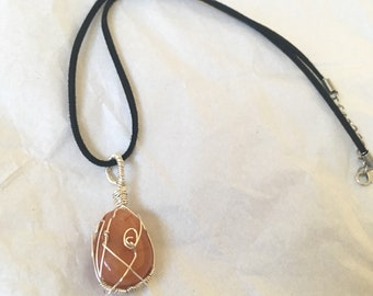 Carnelian Wire Wrap Adjustable Necklace | Faux Suede Cord Silver Plated Wire Crystal Gemstone Reiki