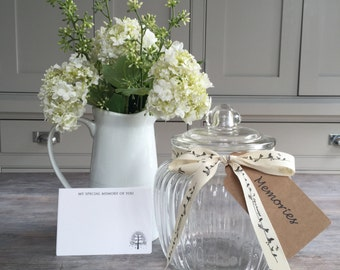 Glass Memory Jar with 50 Remembrance Cards for Funeral, Celebration of Life, Condolence Book, Memorial