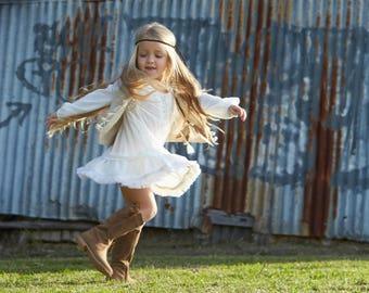 Boho Little Girls Dress, Girls Dress, Tween Girls Dress, Baby Girls Dress, Girls Dres for Boho Wedding
