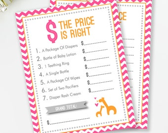 Giraffe Baby Shower, The Price Is Right Baby Shower Game, Safari Baby Shower, Pink and Orange, Girl Baby Shower, INSTANT DOWNLOAD, #G1