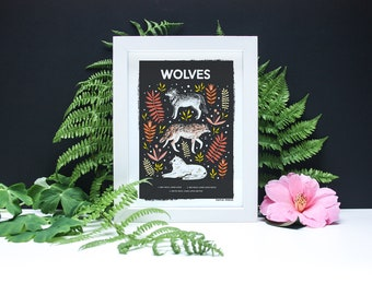 Wolves Natural History Print - A4 or A3 Artists Print