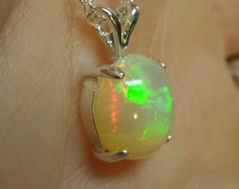 Yellow Ethiopian Welo Fire Opal Cabochon Sterling Silver .925 Pendant Necklace Hand Crafted October Birthstone Bridal