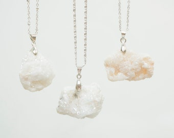 Raw Quartz Necklace Crystal Necklace Silver Necklace Gemstone Necklace Bridesmaid Gift White Necklace Raw Necklace