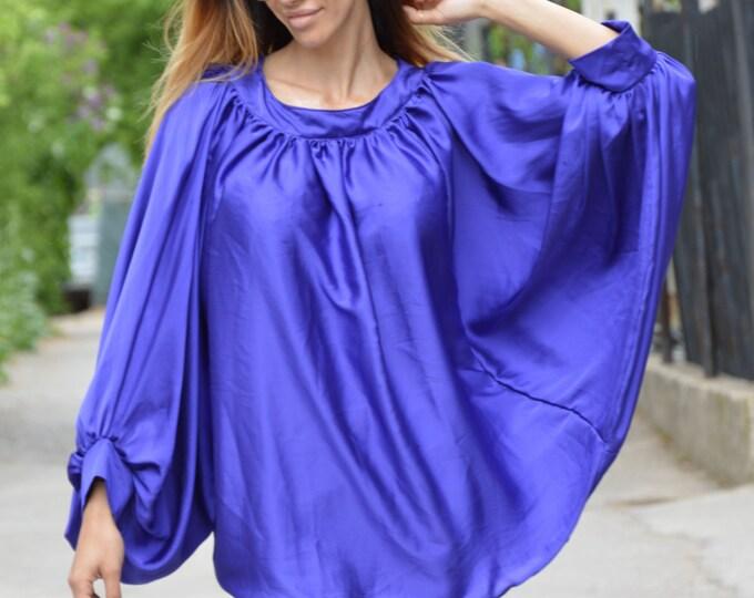 Loose Turkish Blue Satin Shirt, Plus Size Clothing, Long Loose Sleeves, Extravagant Maxi Shirt By SSDfashion