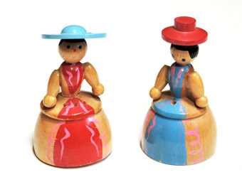 Wooden Doll Salt and Pepper Shakers, Vintage Hand Painted Ladies with Hats, Made in Japan, Cottage Chic Kitsch Home Decor itsyourcountry